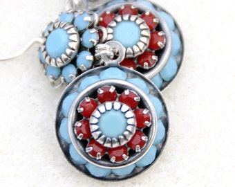 Southwest Splendor - southwest earrings, southwestern earrings, turquoise and coral crystal earrings, antiqued silver