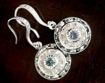 """Blue and Gray Crystal Earrings, art deco earrings, fancy elegant earrings for weddings, brides, bridesmaids, proms, """"Smoke 'n Mirrors"""""""