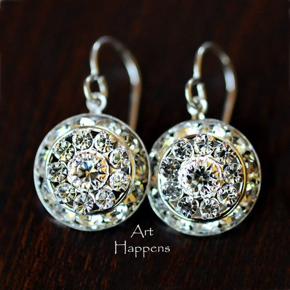 Special occasion clear Swarovski crystal earrings, proms, weddings, brides, bridesmaids, oh my