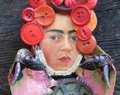 Fly Frida Fly  Frida Kahlo Day of the Dead Assemblage Bones and Found Objects