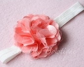Coral Flower on White Stretchy Elastic Headband, Baby Girl Headband, Flower Headband, Toddler Headband, Coral Headband