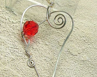 handmade OOAK heart  sterling silver and crystal pendant