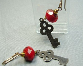 Handmade OOAK black key earrings in cherry red