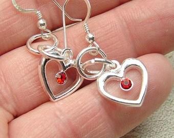 Handmade OOAK heart charm earrings light siam red