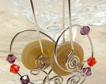 handmade lampwork, sterling and crystal earrings OOAK wild wire