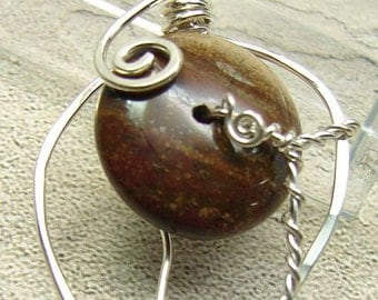 handmade, hand-forged sterling and jasper leaf pendant