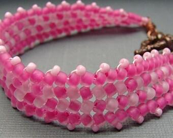 Handmade OOAK bead woven pink bracelet