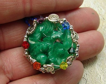 handmade OOAK vintage cab pin earth rainbow colors