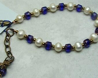 handmade OOAK cobalt and pearl bracelet my blues are flying away