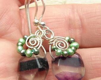Handmade Flourite and pearl earring drops