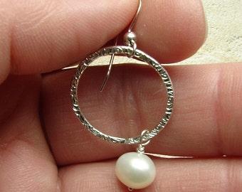 handmade sterling swirl pattern hoop earrings with pearls
