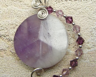 handmade OOAK amethyst, sterling and crystal wirewrapped pendant