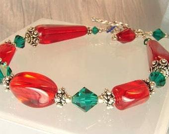 SALE! handmade OOAK christmas red green sterling bracelet