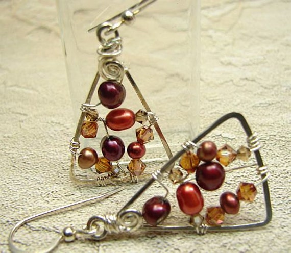 handmade OOAK wire wrapped triangle pearl earrings Autumn