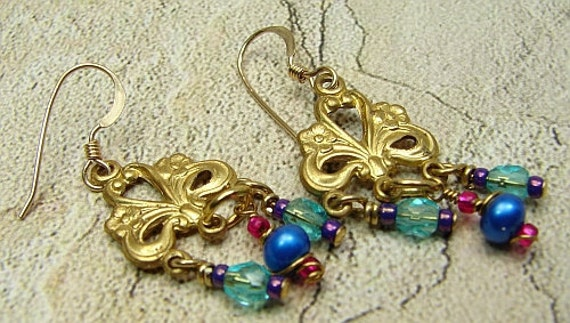 Handmade OOAK chandelier earrings with vintage findings