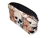 skulls and roses - zipper pouch