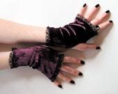 Burgundy crushed velvet stretch Gloves Arm Warmers