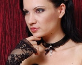 Black shiny pvc skeleton Key and bow Collar necklace custom size