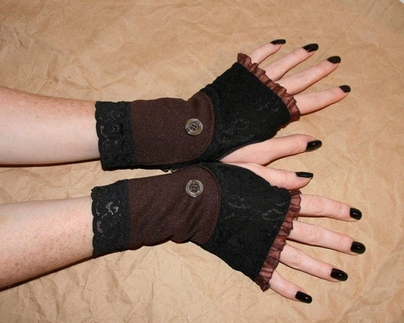 Brown Lace steampunk boot Spat inspired Short fingerless Gloves
