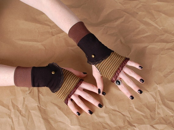 Brown stripes and black Lace steampunk boot Spat inspired Short fingerless Gloves LAST PAIR