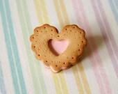 Sweet Pink Valentine Heart Cookie Brooch