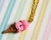 Sweet Lolita Pink Double Scoop Ice Cream Necklace
