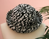Black and White Hat, Brim Hat, Black Hat, Winter Headgear, Dressy Hat, Checkered Hat