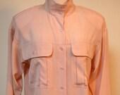 Pastel Pink SILK Long Sleeve Blouse