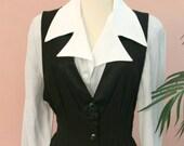 Navy Stripe Dress, 80's Tuxedo Dress, Pin Stripe Dress, Pencil Dress, Mid Calf, Long Dress, Size 8 Dress, 80's Clothing