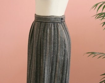Srtiped Skirt, Grey Skirt, Wool Blend Striped Skirt, Long Mid-Calf Skirt, Size 6