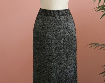 Pencil Skirt, Woolen Skirt, Long Skirt, Ankle Length, Charcoal Grey Metallic Skirt, Dressy Lambswool Skirt, 80's Attire, Size Small