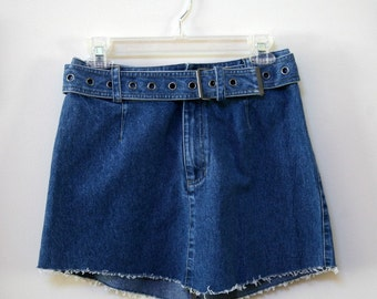 Denim Wide Belt Frayed Edging Mini Skirt Size 6