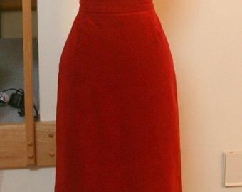Red Skirt, Pencil Skirt, Suede Skirt, Mid Calf, Long Skirt, Woman's Dressy Skirt, Work Attire, Soft Suede Skirt, 80's Attire