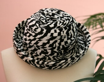 Black and White Hat, Brim Hat, Black Hat, Winter Headgear, Dressy Hat, Checkered Hat