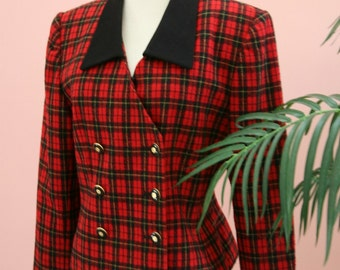 Plaid Blazer, Double Breasted, Black and Red Blazer, Cropped Jacket, Woman's Work Attire, Size 8P, Petite Blazer, Short Blazer