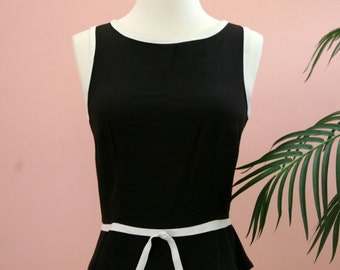 Black and White Sleeveless Shell, Summer Top, Belted Top, Size 5/6, Black Top
