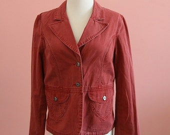 Sierra Red  Blazer, Red Blazer, Sporty Blazer, Woman's Outerwear, Red Jacket, Size Medium