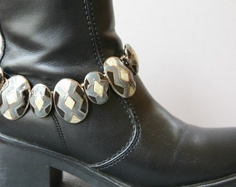 Boot Chain, Black and White, Boot Accessories, Boot Bracelet, Footwear Jewelry, 80's Boot Jewelry