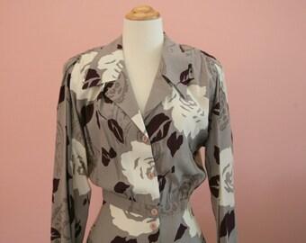 Floral Dress, Long Flowered Dress, Khaki Colored Dress, Size 6, Casual Flowing Dress, 80's Dress, Business Attire, Mid Calf Dress