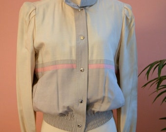Reversible Grey, Cream and Pink Short Cropped Lightweight Jacket, Spring Jacket, Gray Cropped Jacket, Striped Jacket, Reversible Jacket