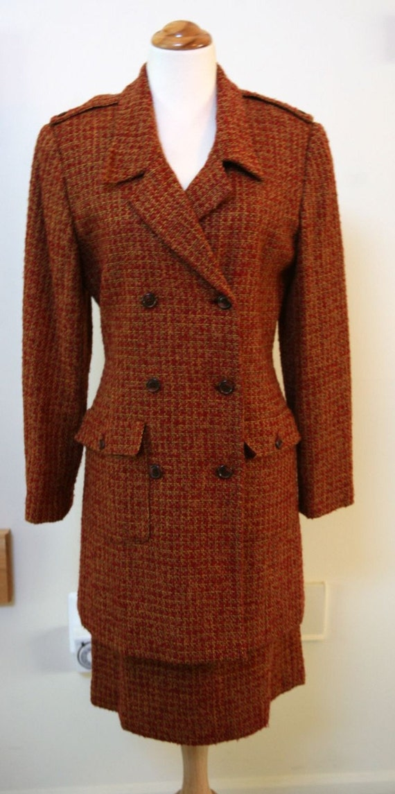 Bill Blass Fully Lined Double Breasted Rust and Gold Tweed Suit Size 6