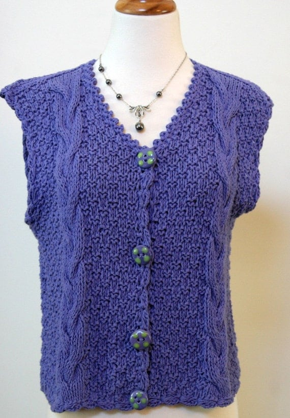 15 DOLLAR SALE - Vintage Lavendar Cable Knit Vest