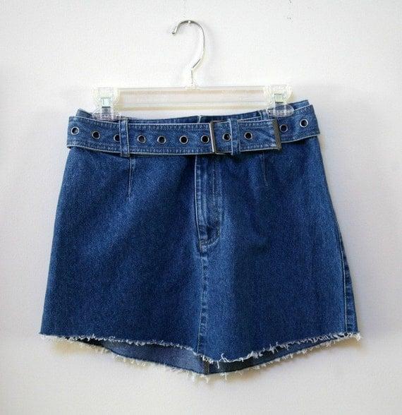 Denim Wide Belt Frayed Edging Mini Skirt Size 6