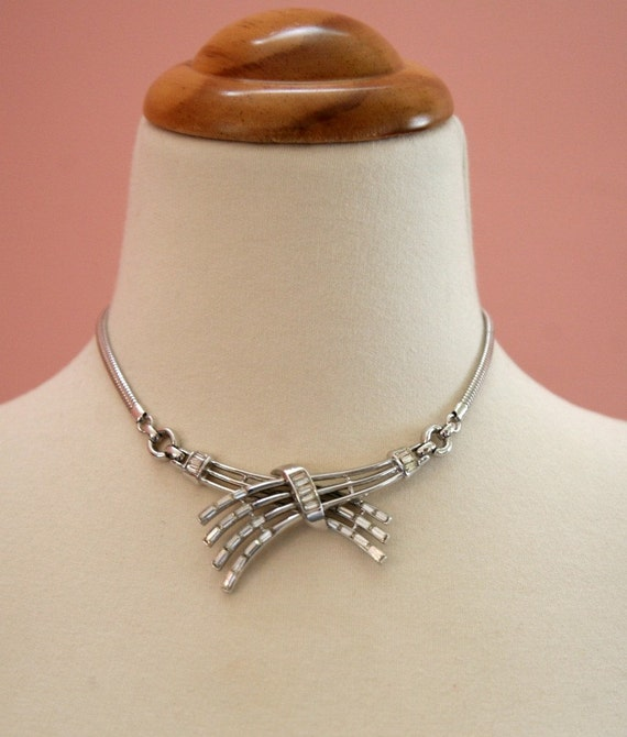 15 DOLLAR SALE - Silver Criss Cross Necklace with Embedded Crystals