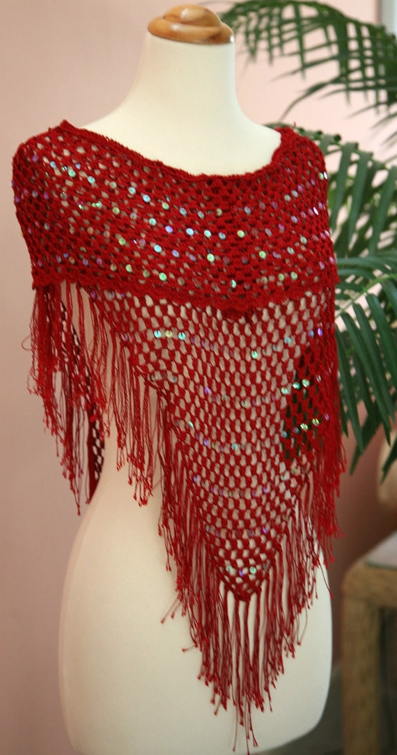 Red Sequined Crocheted Shawl