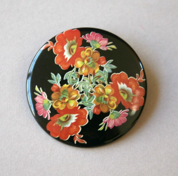 Large Floral Pendant, Flowered Pendant, Round Pendant, Black and Red, Vintage Enamel Pendant, Big and Bold