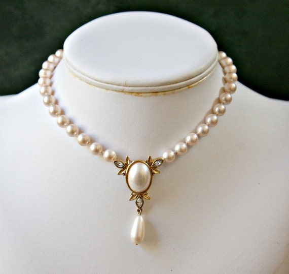 Faux Pearl Drop Bridal or Dressy Choker Style Necklace