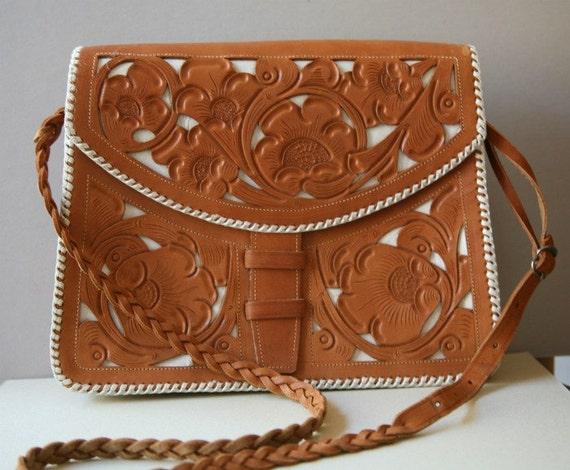 Guatemalan Stencil Tan Leather Handbag