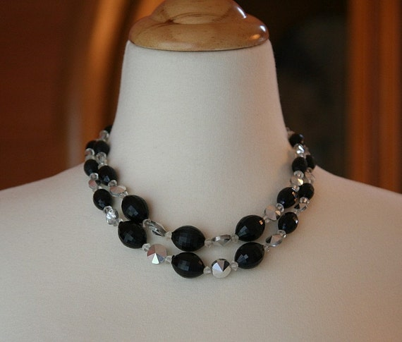 Two Strand Necklace, Black Necklace, Acrylic Necklace, Big and Bold, Multi Strand Necklace,Black and Clear, Circa 1950