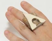 Cream Triangle Superhero Ring